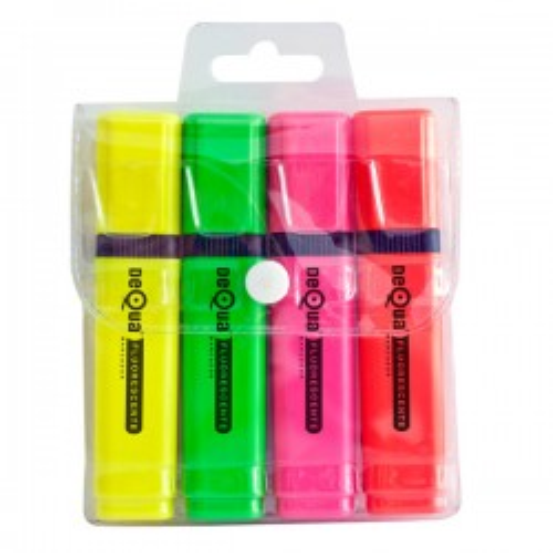 Marcador fluorescente Dequa Trazo 5,2 mm. Blister 4 colores