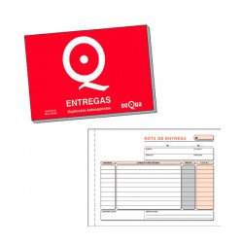 Talonario nota de entrega Dequa catalán 1/4 apaisado 21x15 cm triplicado autocopiante