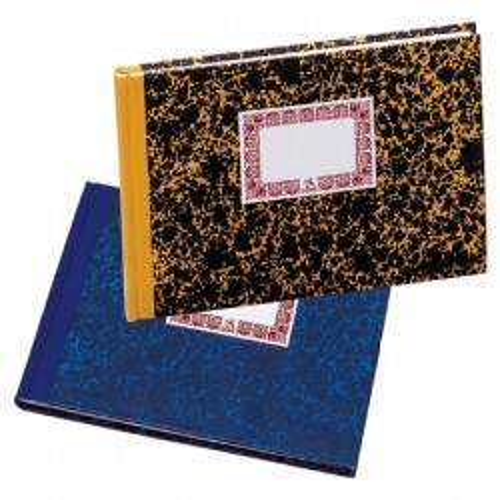 Cuaderno de cartoné tamaño cuarto apaisado azul