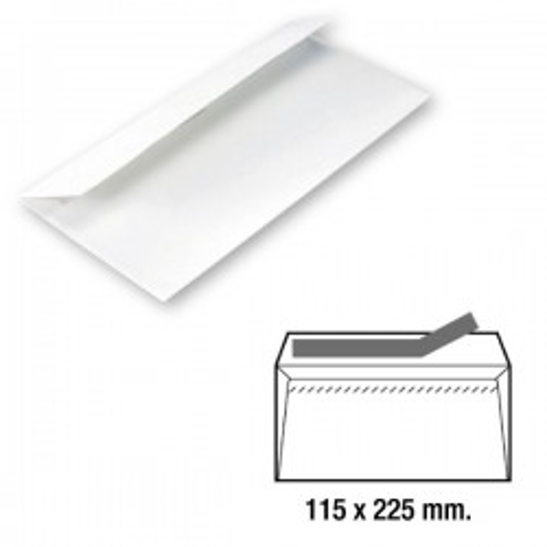 Caja 500 sobres americano ventana derecha 115x225mm