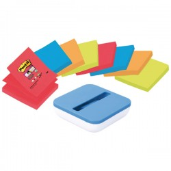 Dispensador Post-it Z-Notes Azul Val  + 8 blocs Post-it Super Sticky Z-Notes 76x76mm. Colores Surtidos