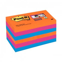 Pack 12 blocs notas Post-it Super Sticky 47,6x47,6mm. Bangkok