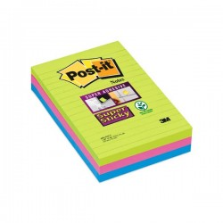 Pack 3 blocs notas Post-it Super Sticky Ultra. Rayado horizontal 101x152mm. Colores Surtidos