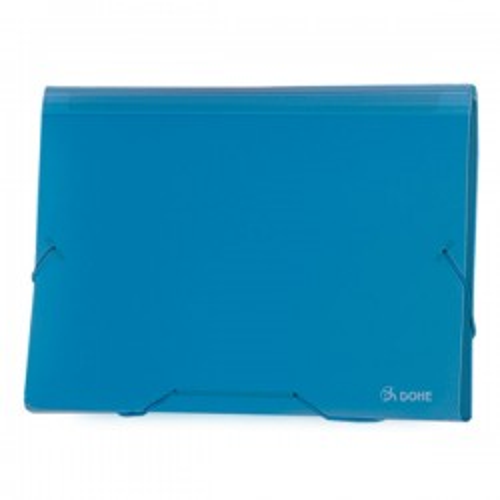 Clasificador acordeón Dohe 13 departamentos Cierre gomas A4 apaisado Azul translúcido
