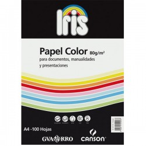 Pack 100h papel color Iris 80g A4 verde billar