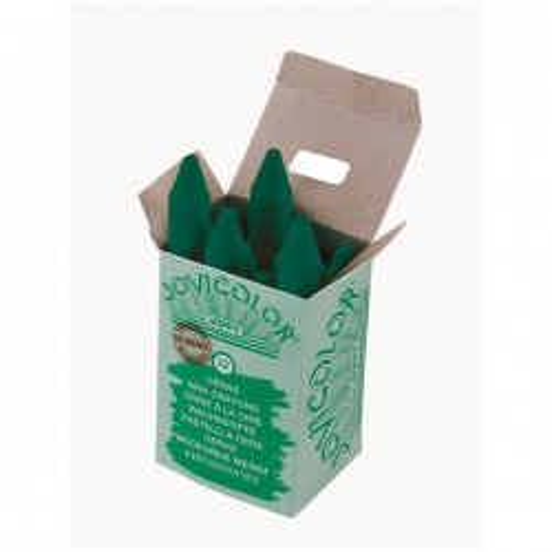 Caja 12 ceras jovicolor verde oscuro