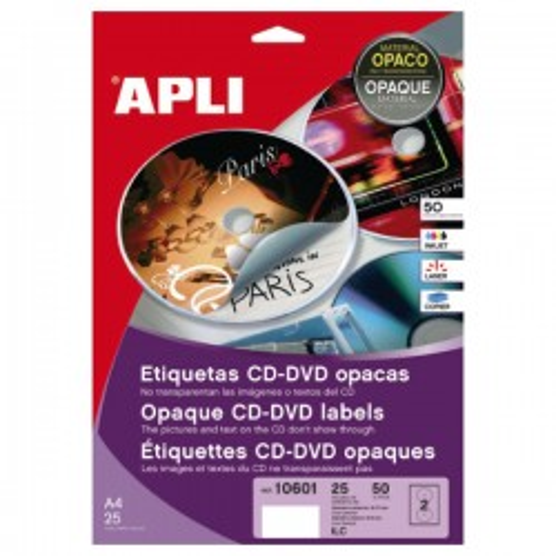 Pack 50 etiquetas mega CD-DVD opacas