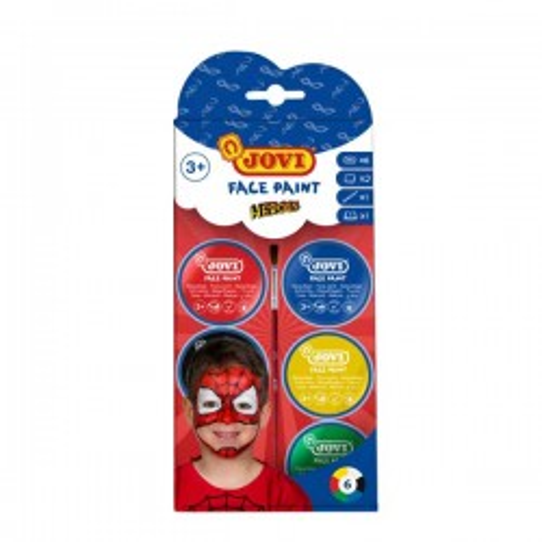Set 6 botes maquillaje Face Paint Jovi 8ml + accesorios Heroe