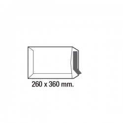 Caja 250 bolsas 100g. Folio prolongado 260x360mm. Offset Blanco