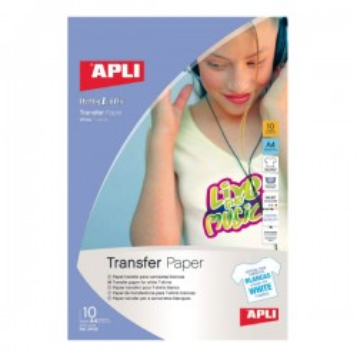 Pack 10h. papel transfer Apli para telas blancas A4