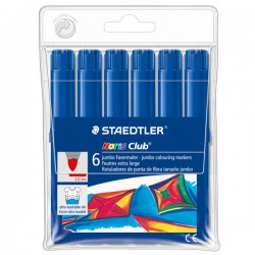 Caja 6 rotuladores Staedtler Noris Club 340 jumbo azul oscuro